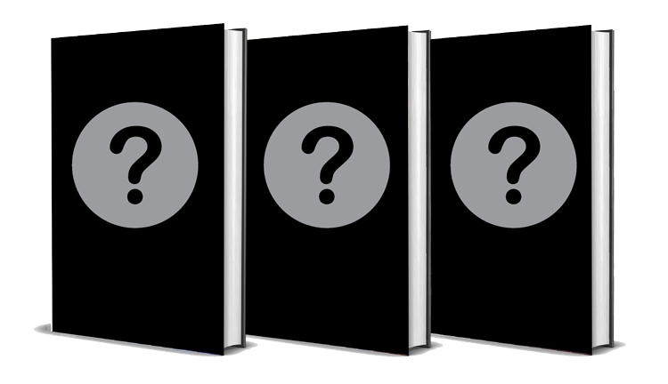 Three books with question marks on the covers